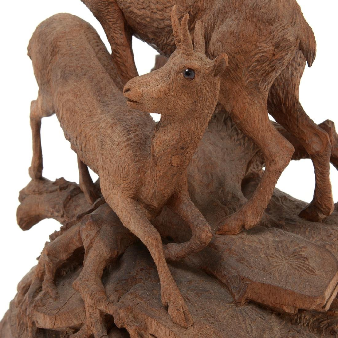 Swiss Carved Wood Centerpiece of Two Mountain Goats, - 4