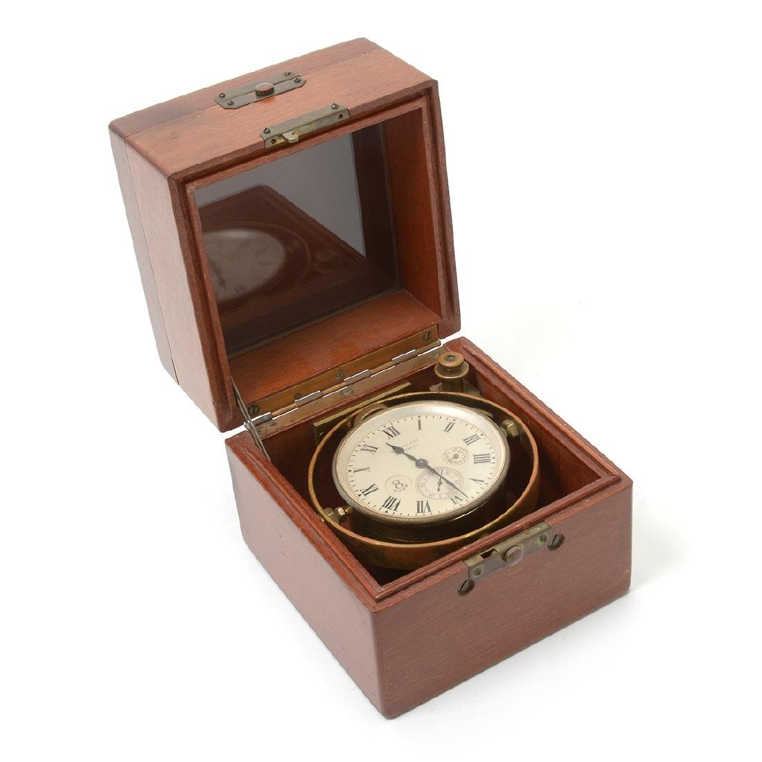 Waltham Brass Eight Day Ship's Chronometer in Fitted