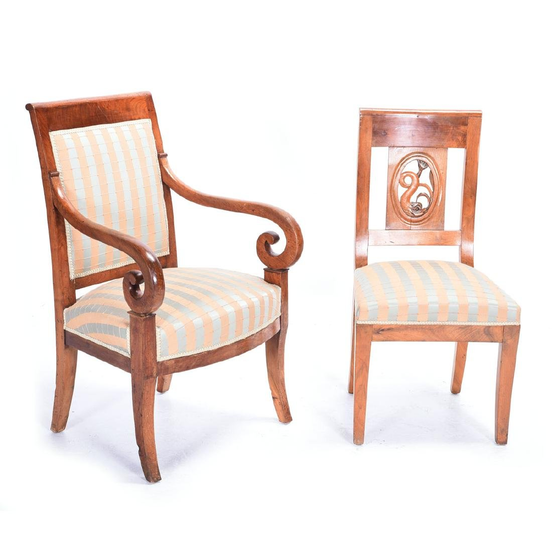Six Italian Fruitwood Side Chairs with Dolphin Carved