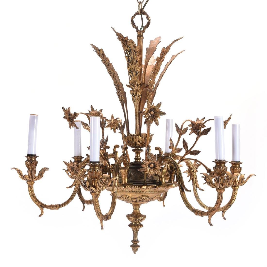 Louis XV Style Gilt Bronze Six Light Chandelier Fitted