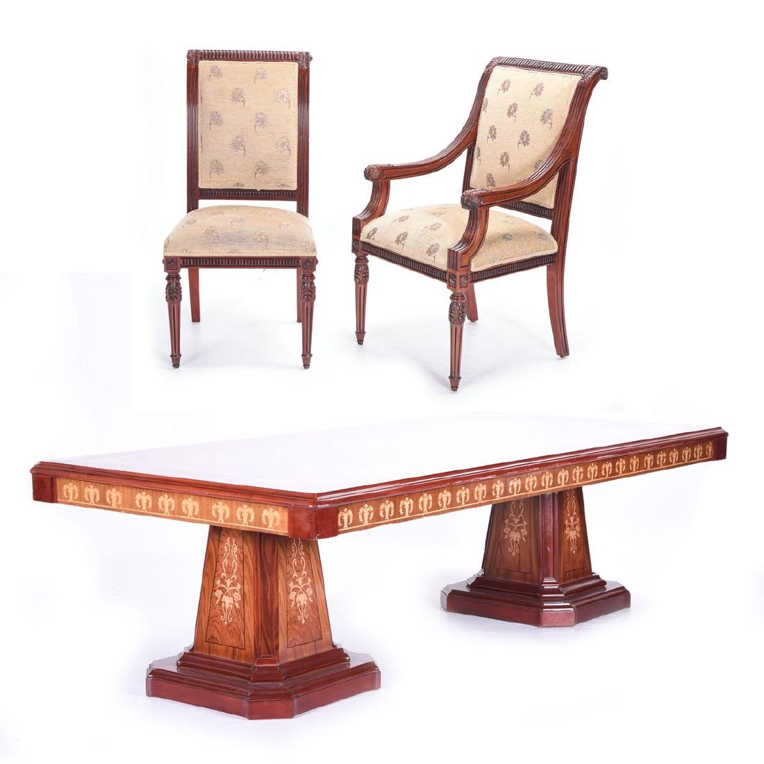 French Empire Style Marquetry Double Pedestal Dining