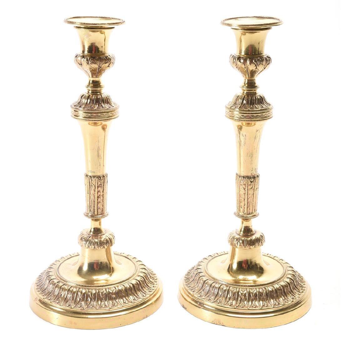Pair of Directoire Gilt Brass Candlesticks.