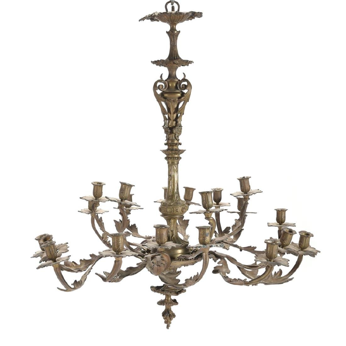Louis XV Style Gilt Bronze Eighteen Light Chandelier