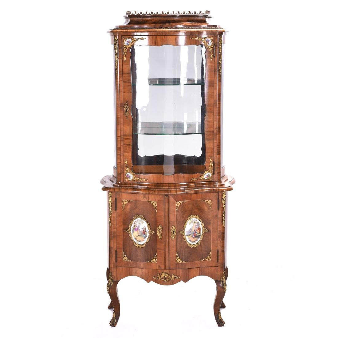 Louis XV Style Two Piece Vitrine with Porcelain Plaques