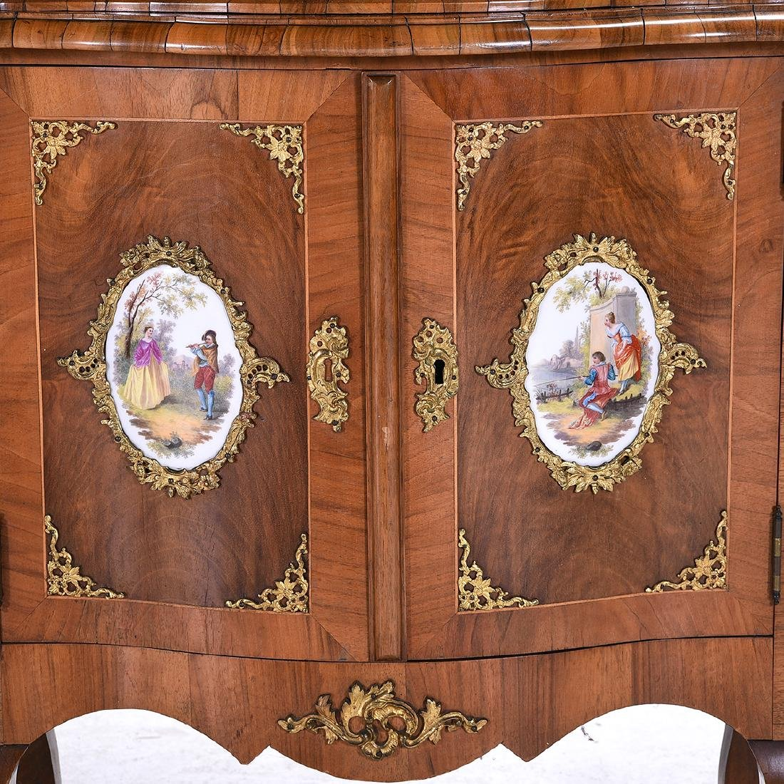 Louis XV Style Two Piece Vitrine with Porcelain Plaques - 2