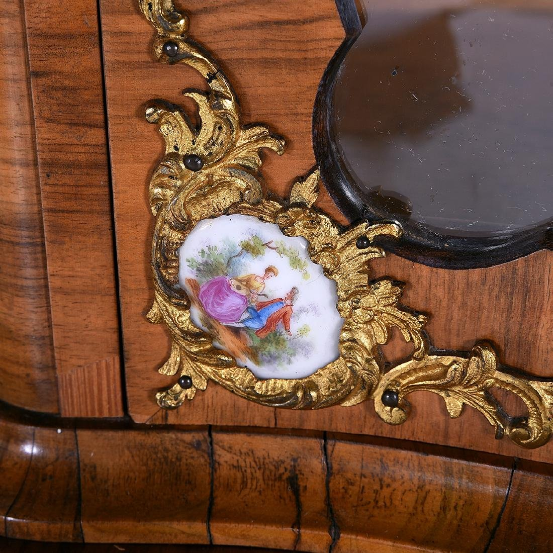 Louis XV Style Two Piece Vitrine with Porcelain Plaques - 3