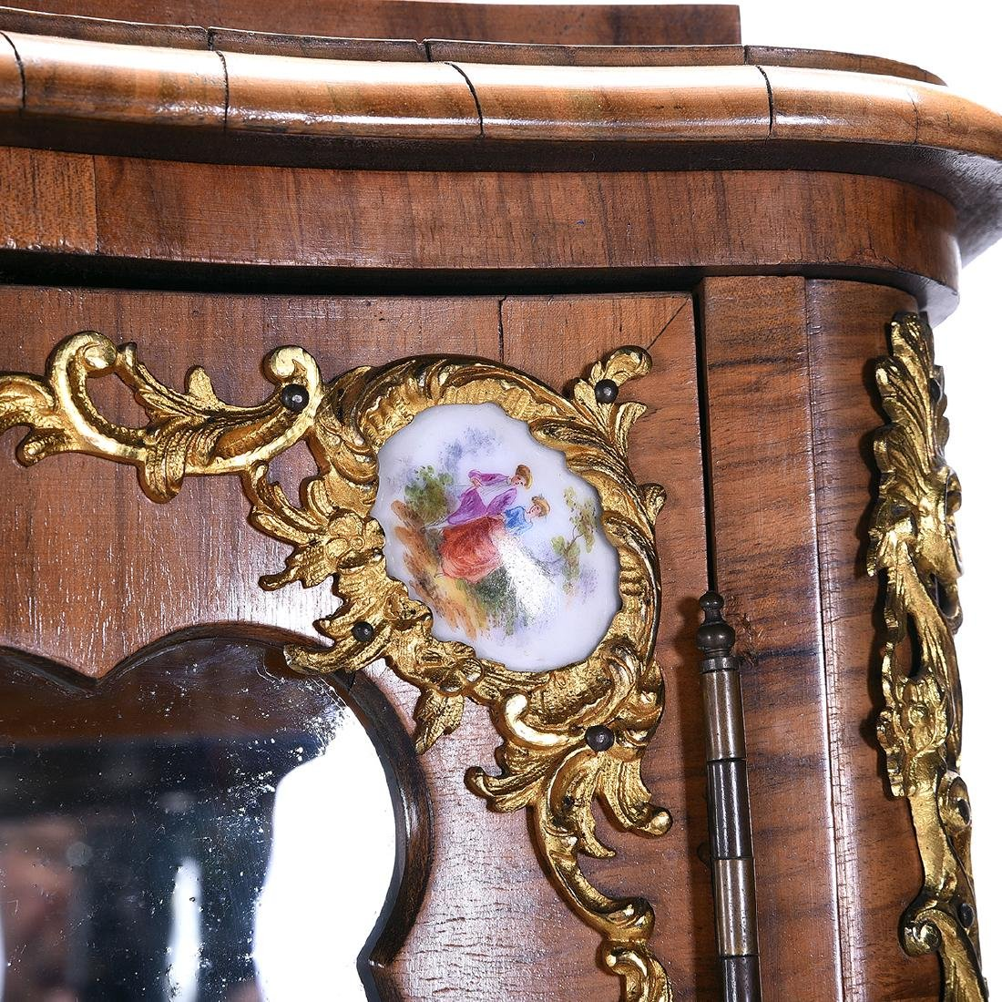 Louis XV Style Two Piece Vitrine with Porcelain Plaques - 4