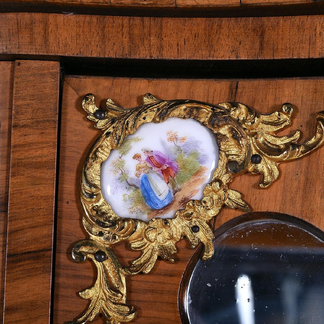 Louis XV Style Two Piece Vitrine with Porcelain Plaques - 5