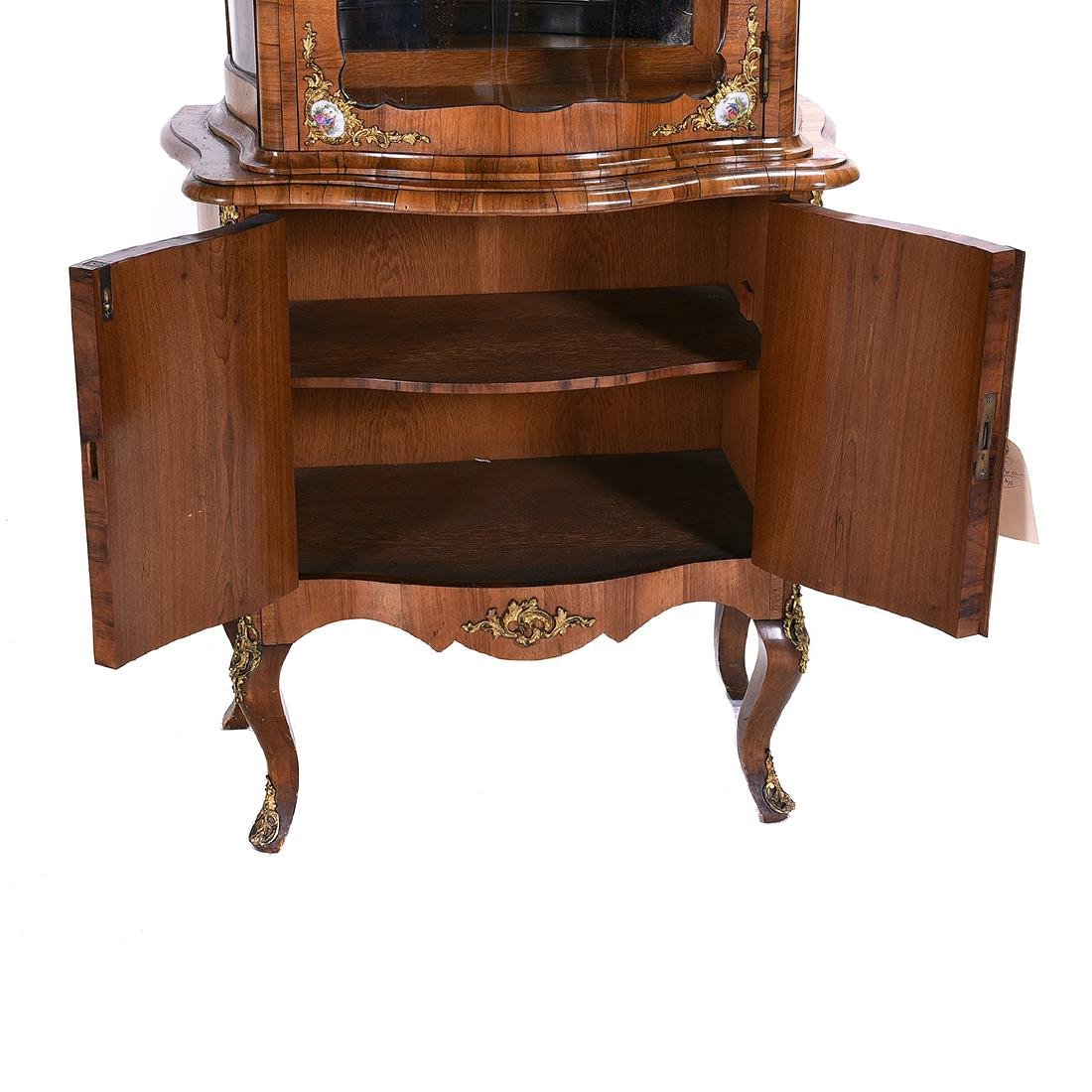 Louis XV Style Two Piece Vitrine with Porcelain Plaques - 9