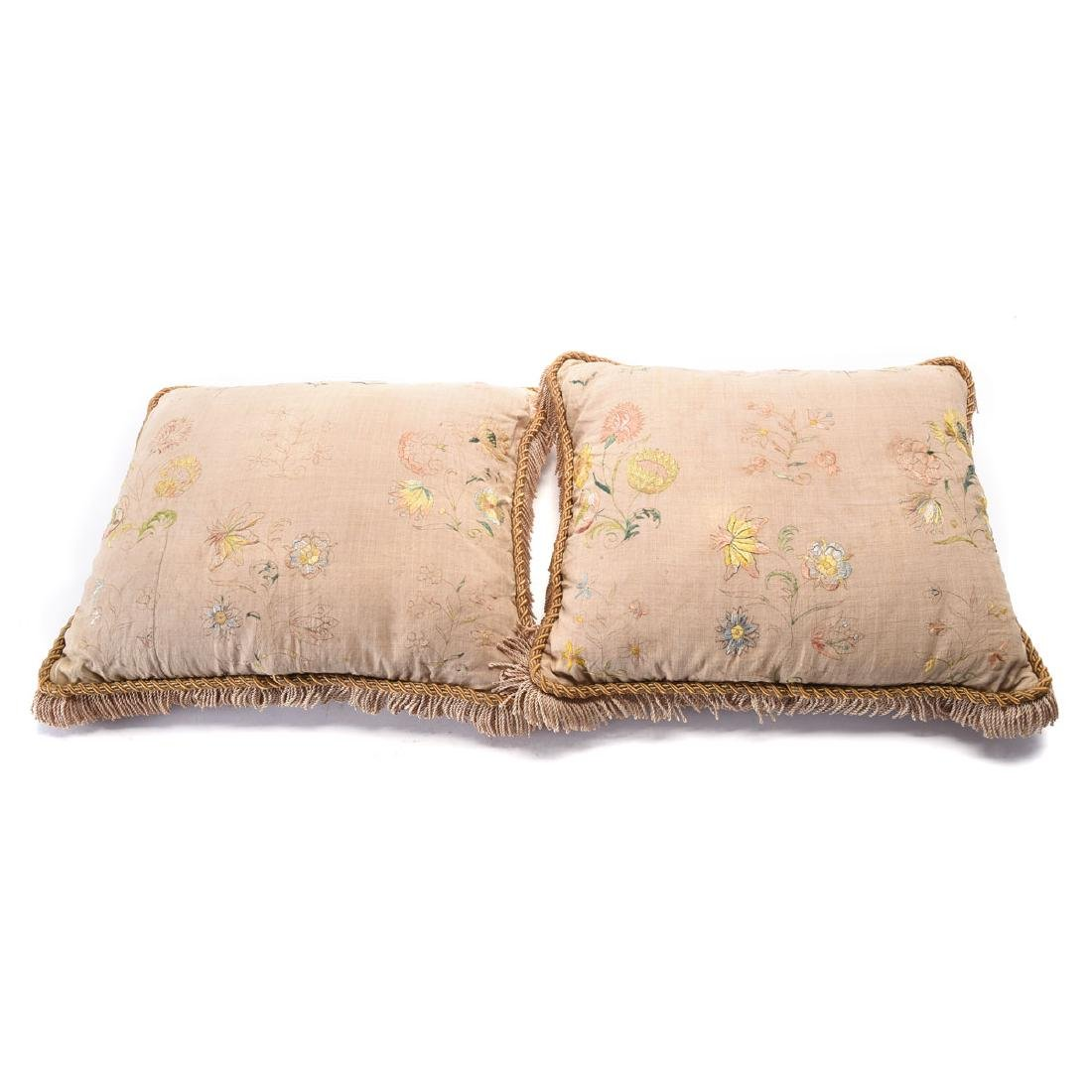 Pair of French embroidered silk moire pillows (2292),