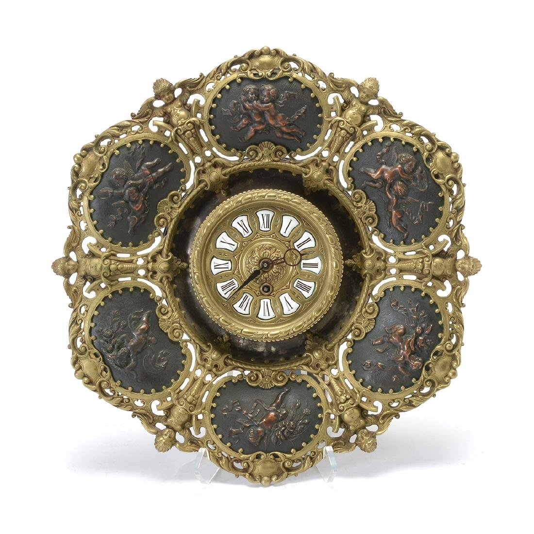 German Rococo Revival Gilt Metal Wall Clock