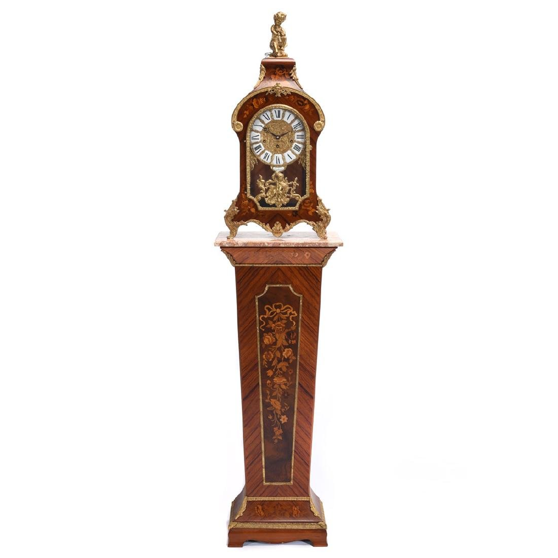 Tiffany Marquetry Mantel Clock on Plinth Pedestal Base