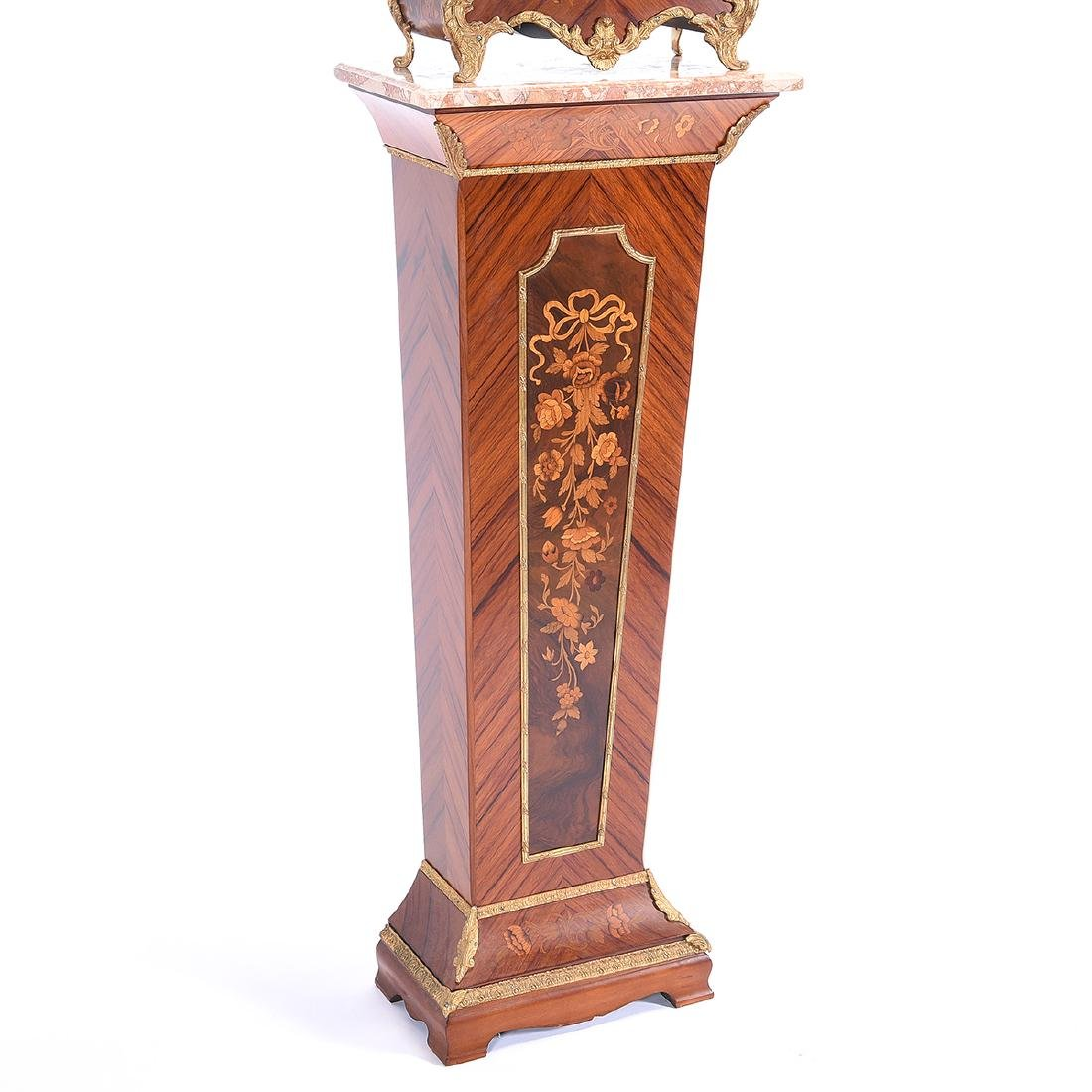 Tiffany Marquetry Mantel Clock on Plinth Pedestal Base - 2
