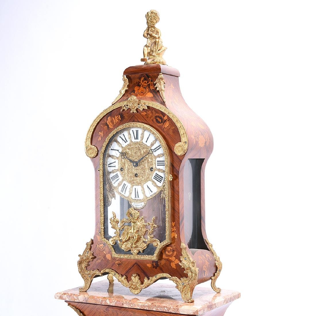 Tiffany Marquetry Mantel Clock on Plinth Pedestal Base - 3