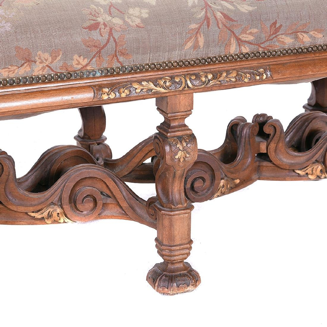 Rococo Style Tapestry Upholstered Bench, with Heavily - 3
