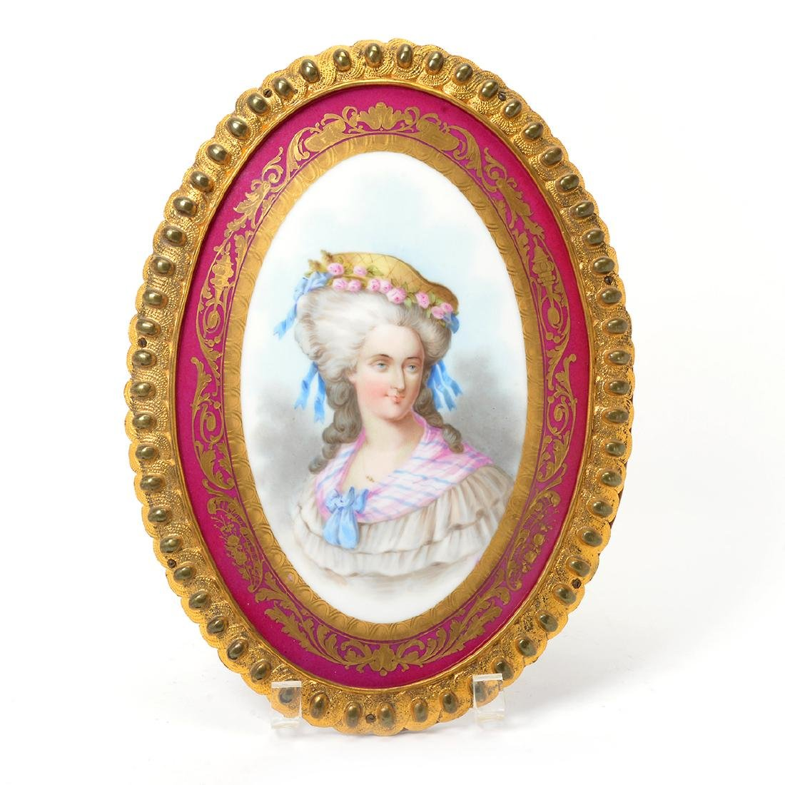 Sevres Style Porcelain Oval Plaque of Marie Antoinette