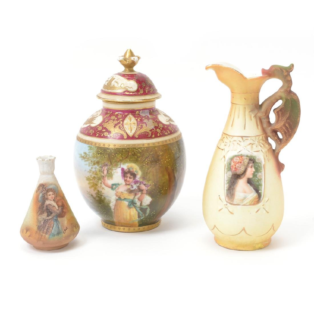 Three Royal Vienna Style Portrait Earthenware Articles