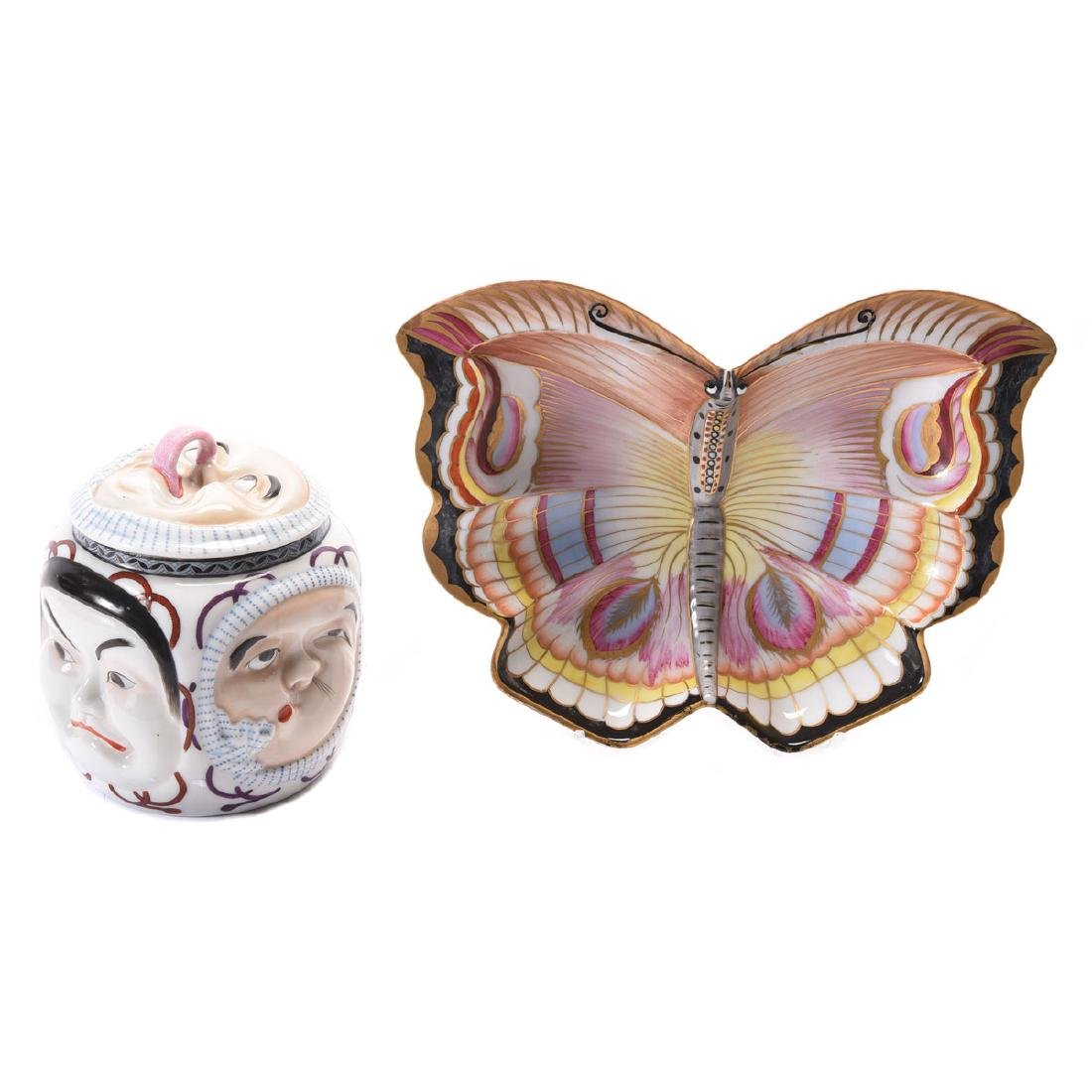 Continental Face Form Jar and Royal Vienna Butterfly