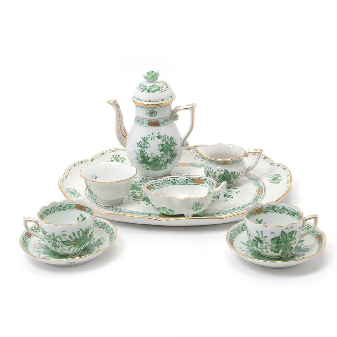Herend Tobacco Leaf Porcelain Eight Piece Tea Service.