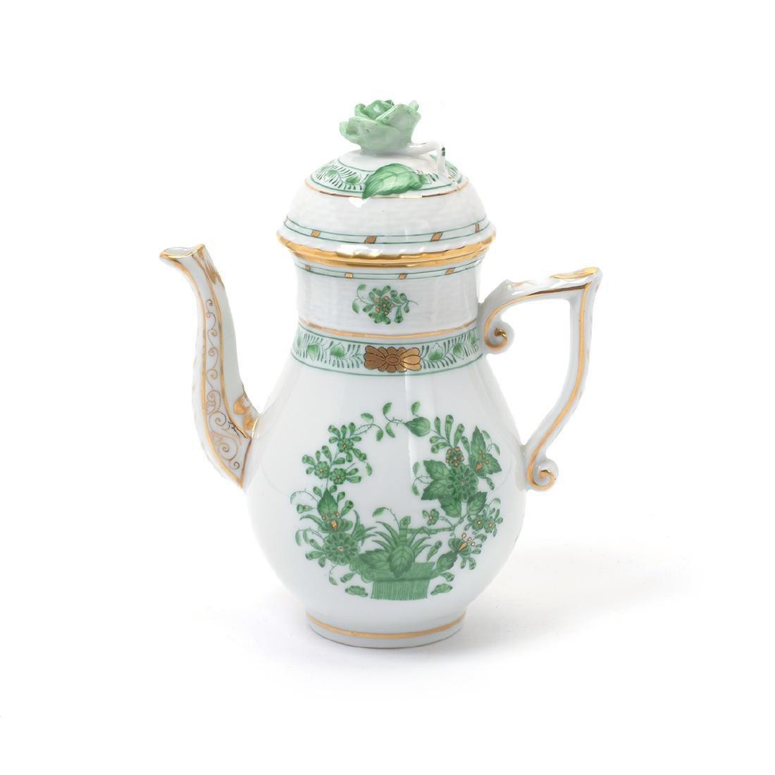 Herend Tobacco Leaf Porcelain Eight Piece Tea Service. - 4