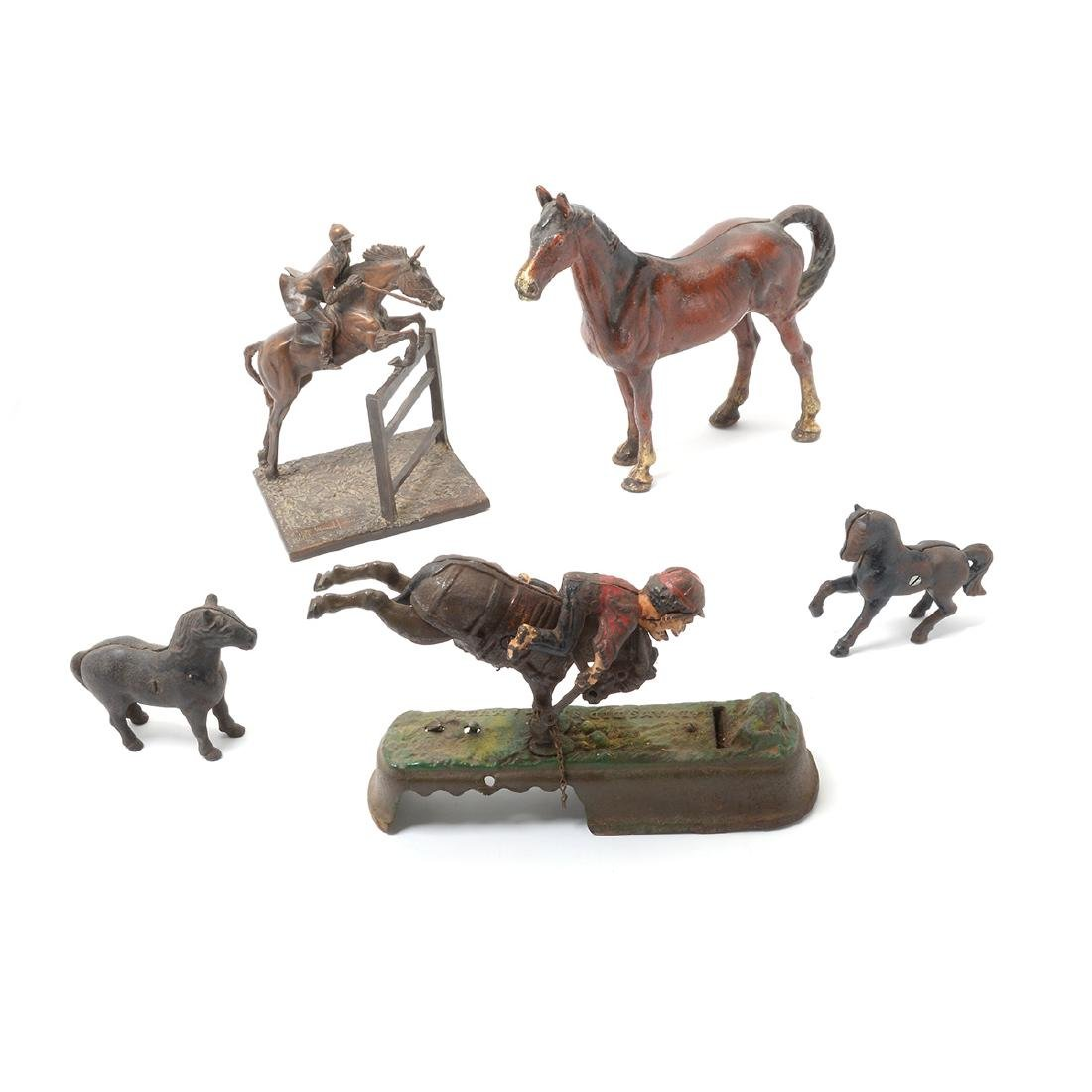 Lot of Four Vintage Cast Iron Figures of Horses.