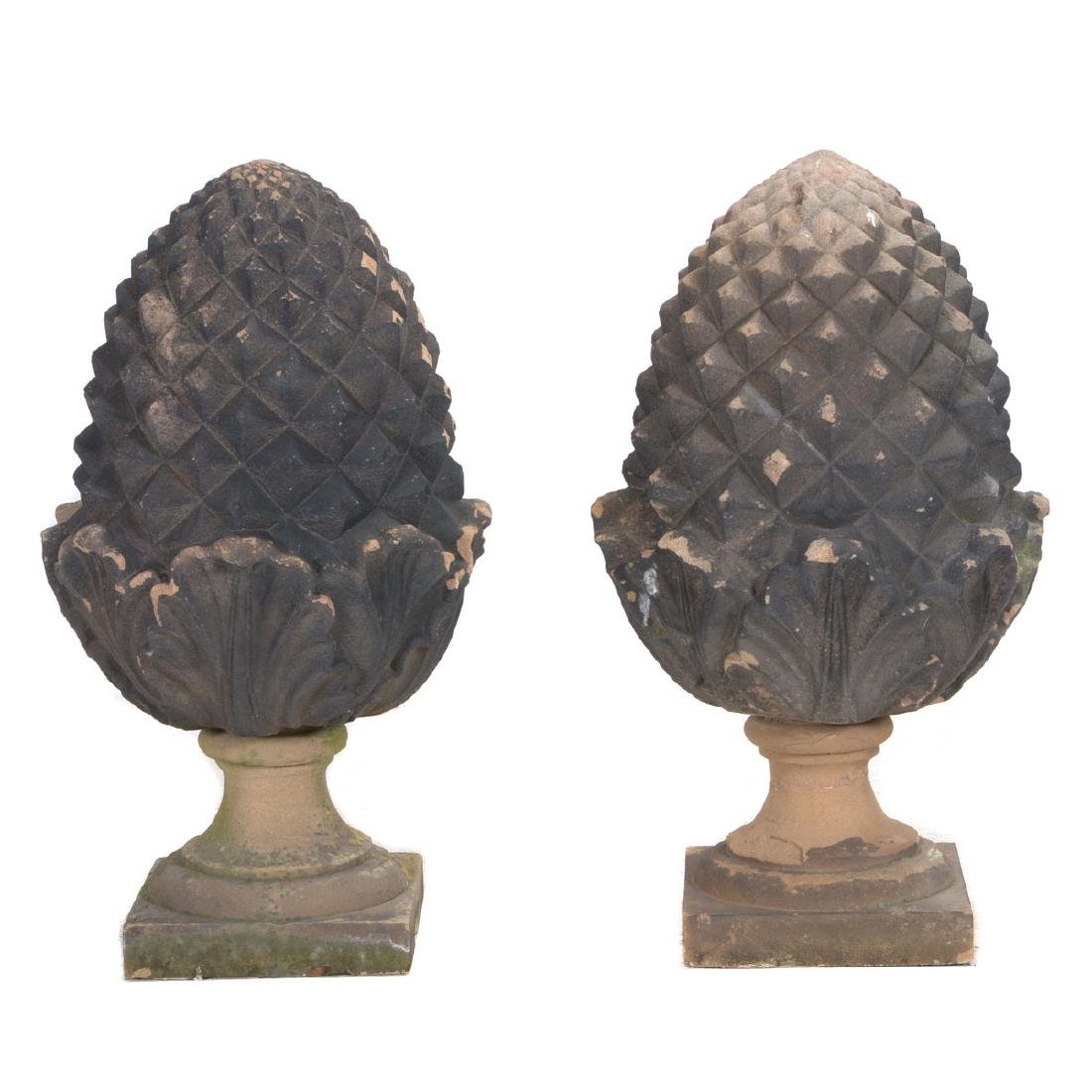 Pair of English Carved Red Sandstone Pine Cone Finials.