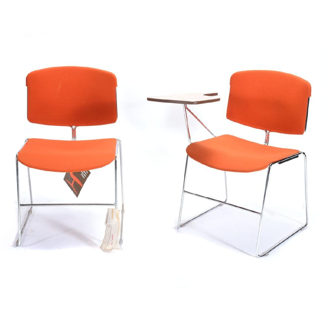 Six Mid Century Modern Steel Case Stacking Chairs.