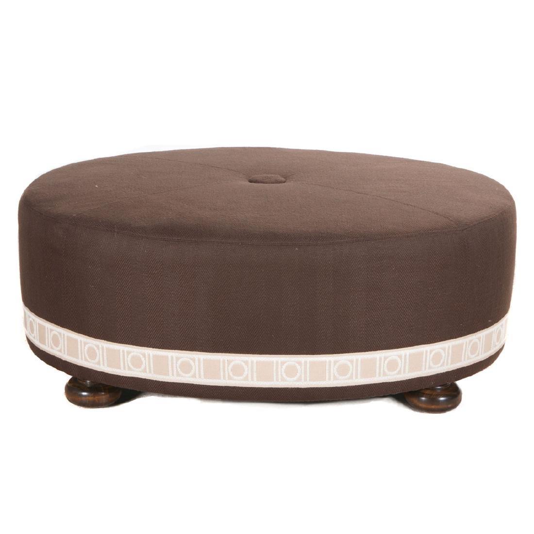 Custom velvet upholstered mahogany ottoman