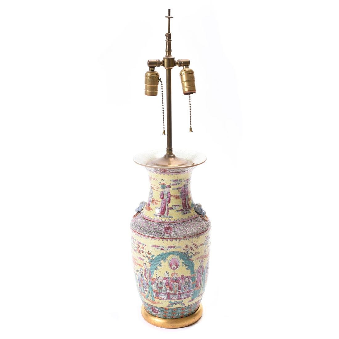 Chinese Yellow Ground Famille Rose Porcelain Lamp