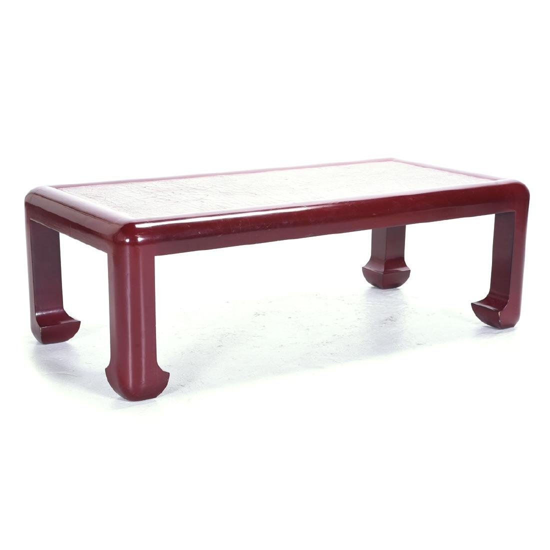 Vintage Karl Springer Style Red Lacquered Coffee Table