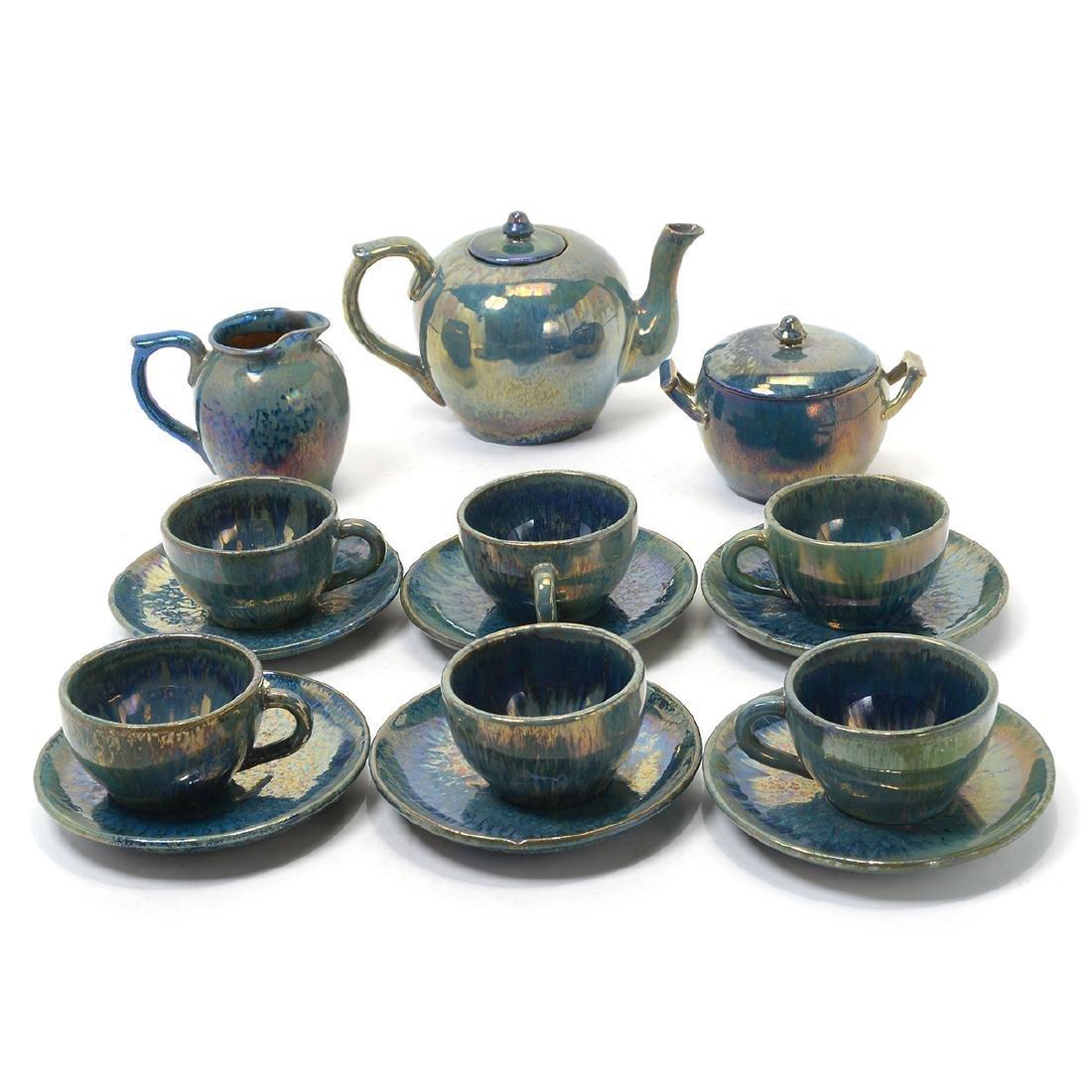 Alphonse Cytere Iridescent Art Pottery Tea Service
