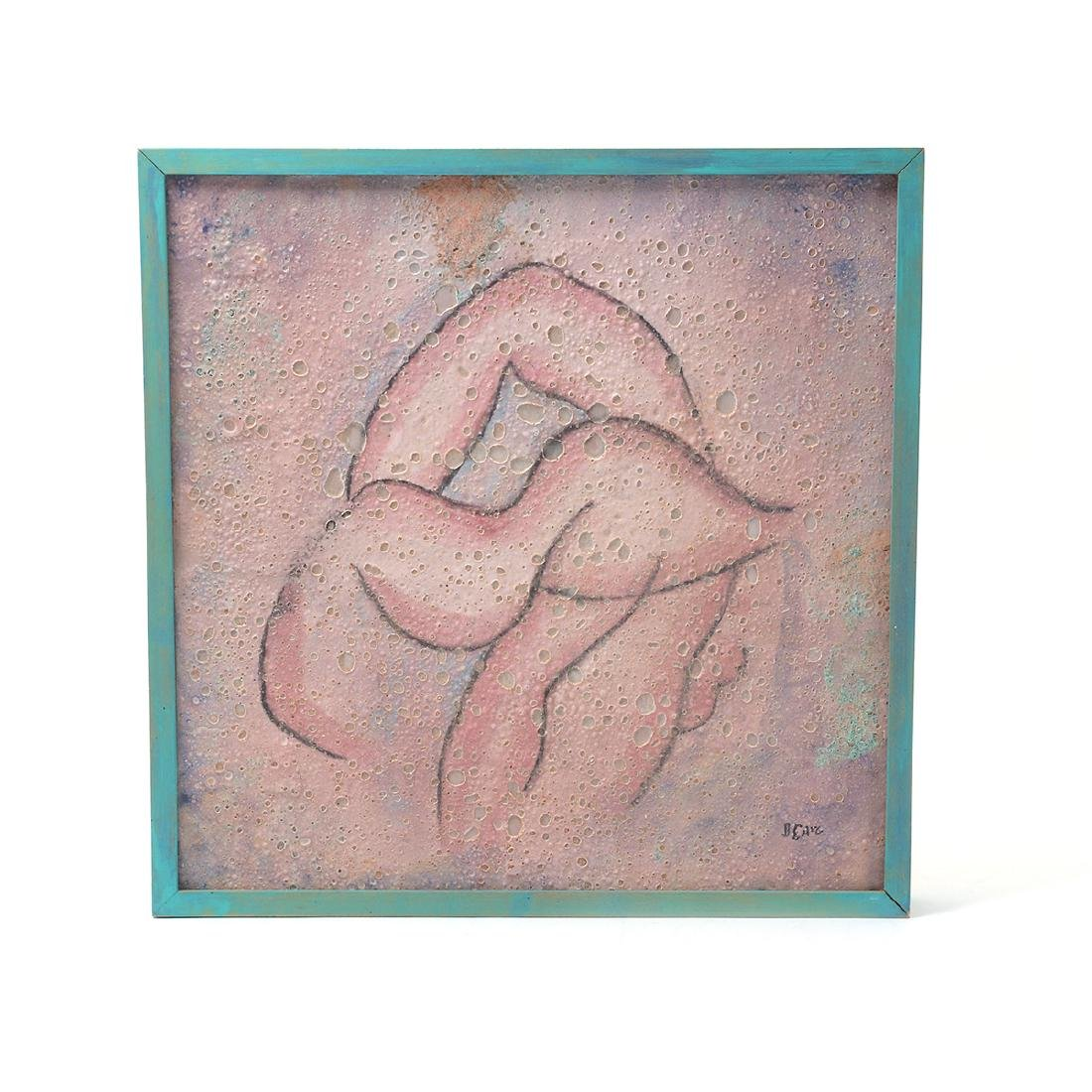 Beatrice Wood, Pink Crater Glaze tile framed