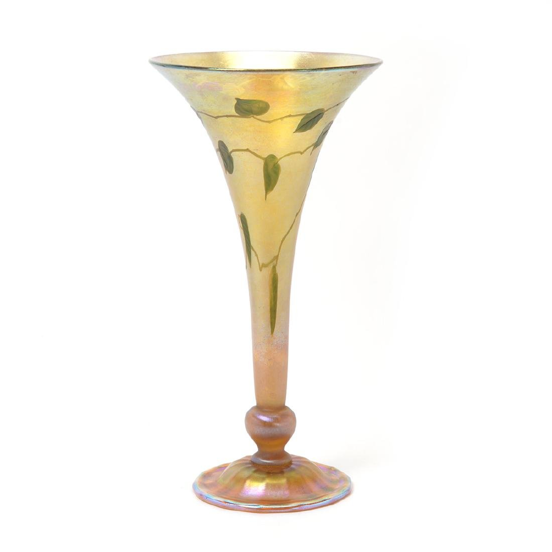 Tiffany Studios Ivy Cut Favrile Trumpet Vase