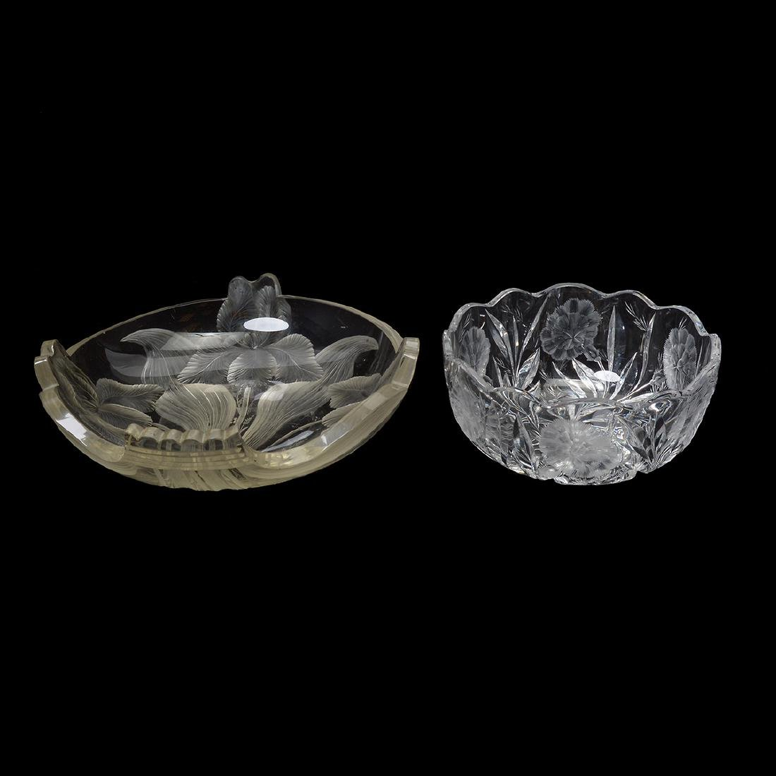 Art Nouveau Cut and Engraved Center Bowl, with Hawkes