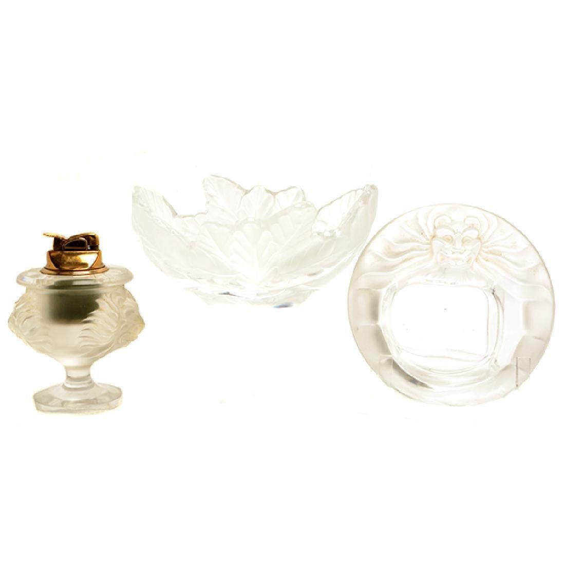 "Lalique Oak Leaf Bowl with ""Tete de Lion"" Smoke Set"