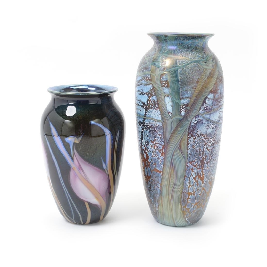 Two Richard Satava Art Glass Vases - Interior Lily and