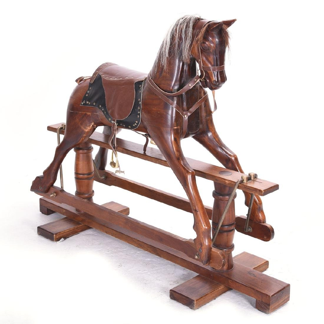 Large Primitive Wood Rocking Horse Fitted on a Platform
