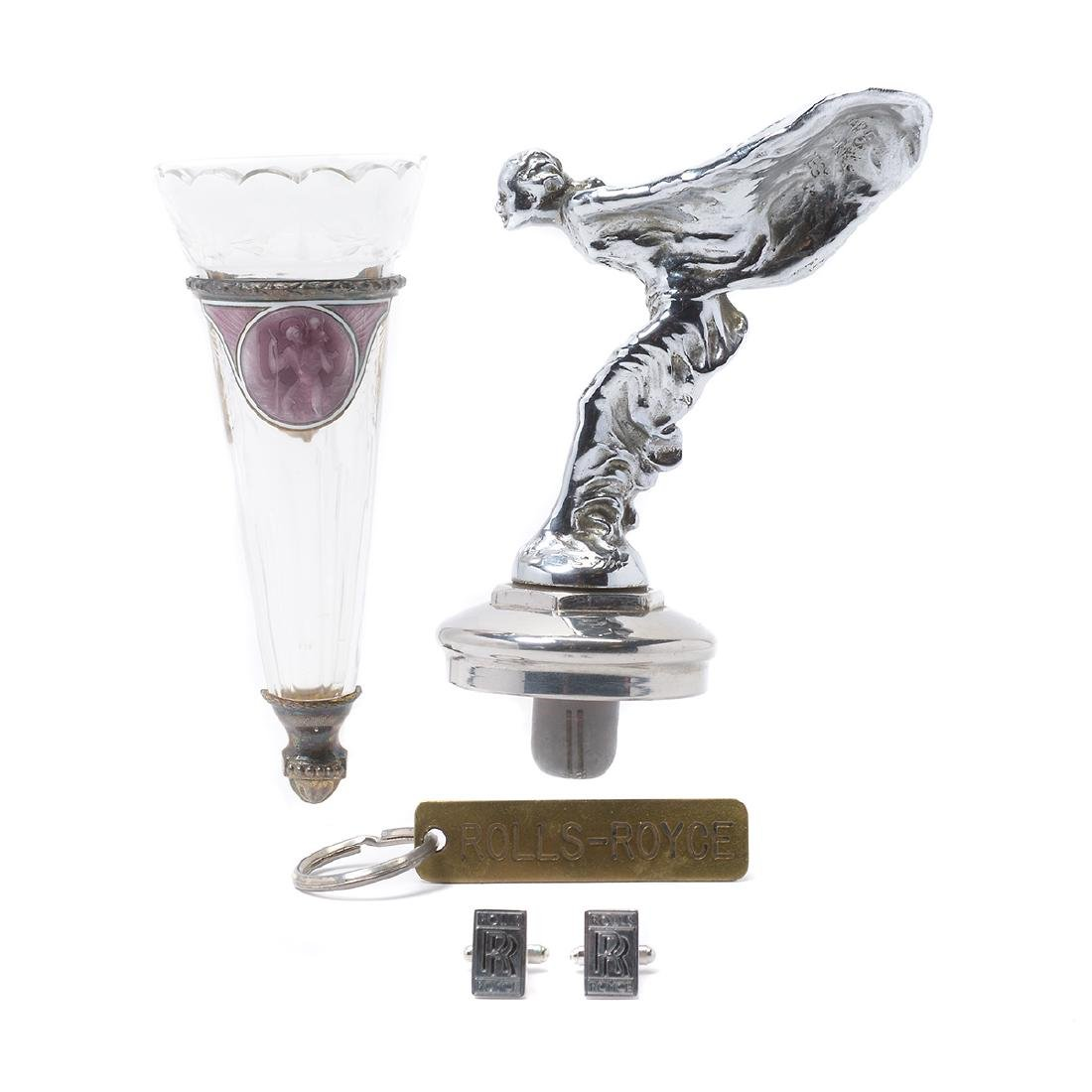 Royal Royce Hood Ornament, Floral Vase, Key Chain and
