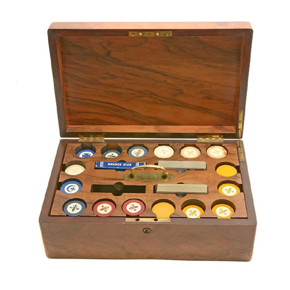 English Edwardian Poker Chip Set in Wood Case