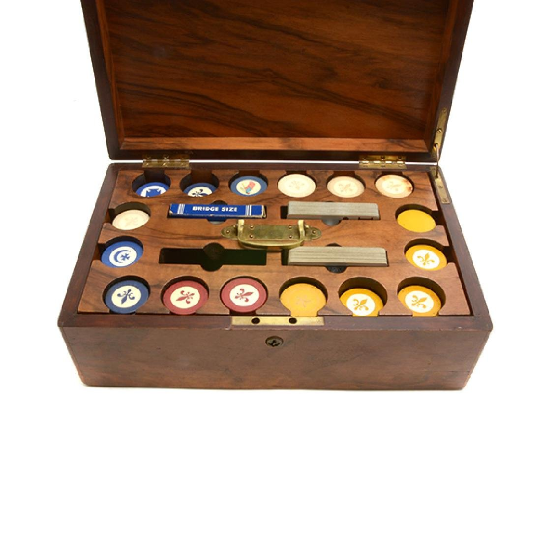English Edwardian Poker Chip Set in Wood Case - 2