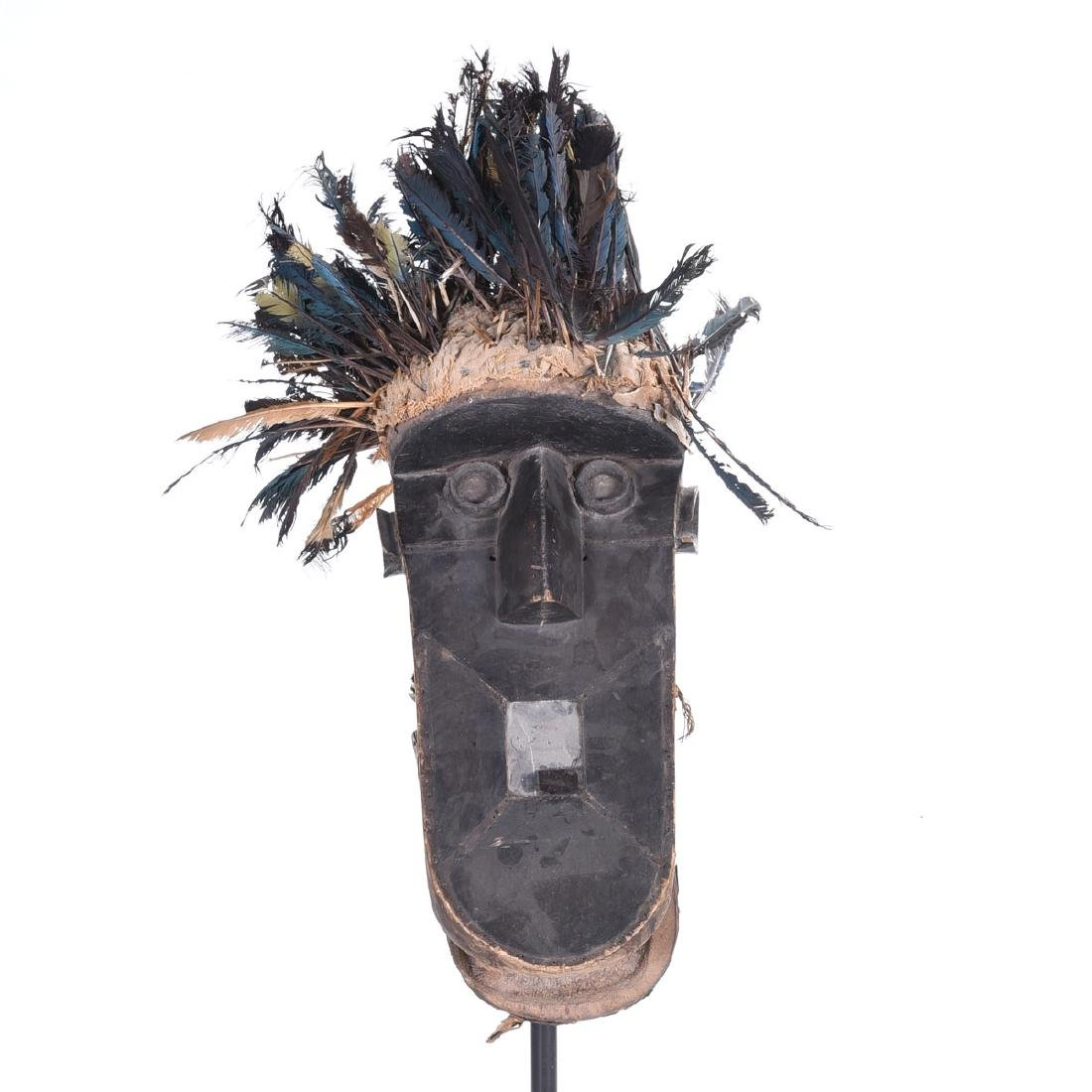 Toma Mask with Inset Mirror, Feather Headress, Black