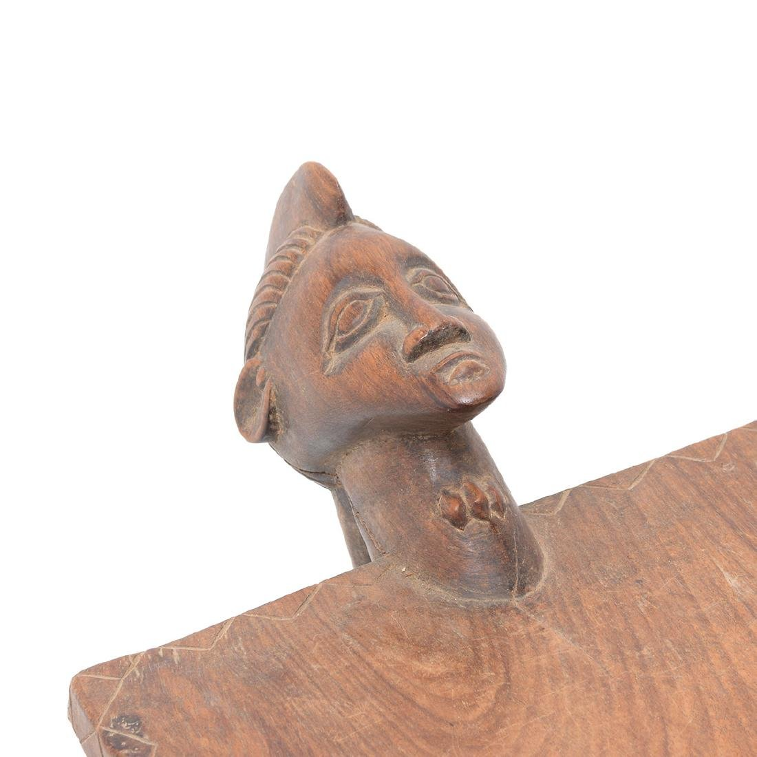 West African Wood Tripod Stool with Face - 2