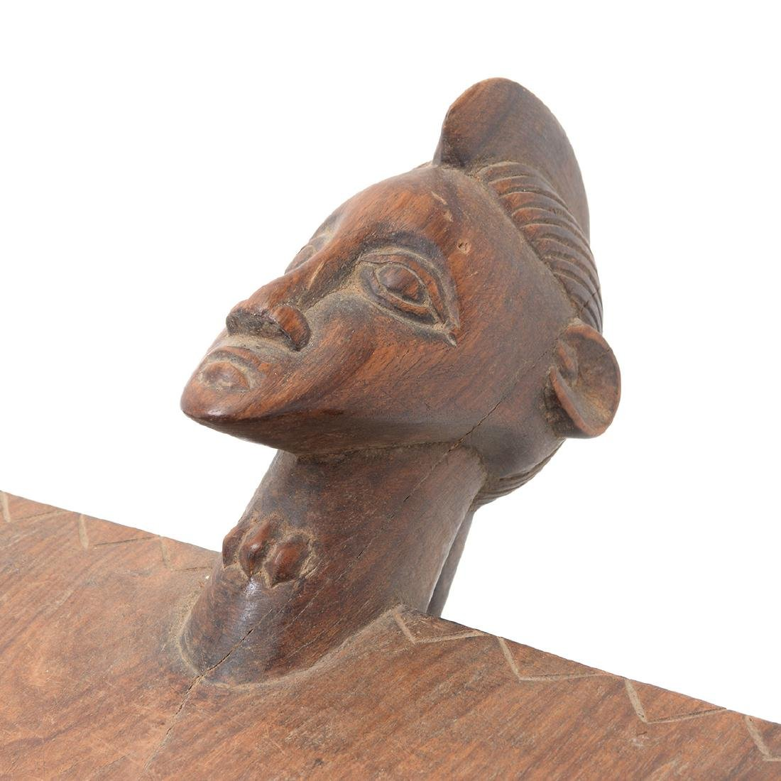 West African Wood Tripod Stool with Face - 3