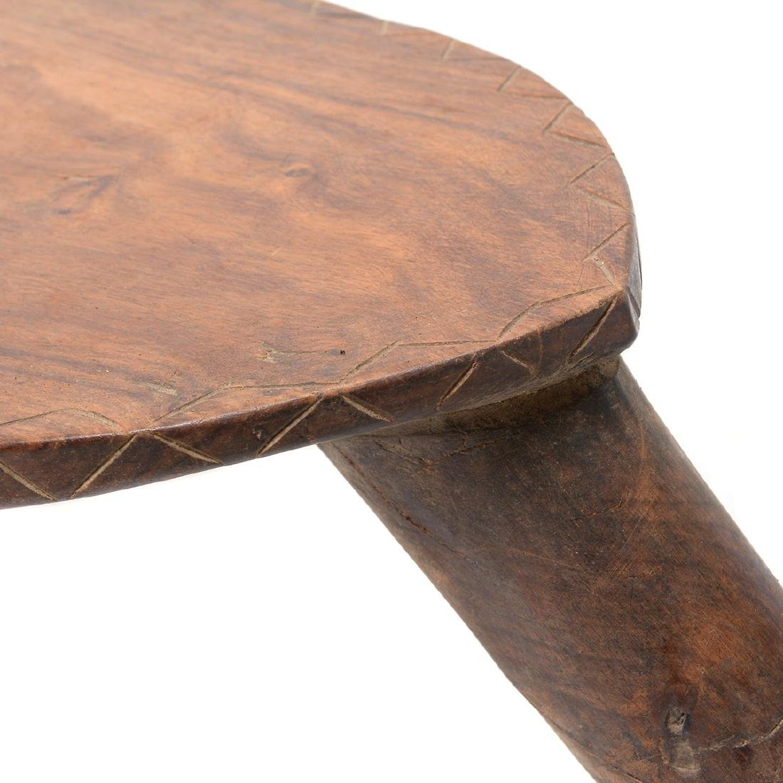 West African Wood Tripod Stool with Face - 7