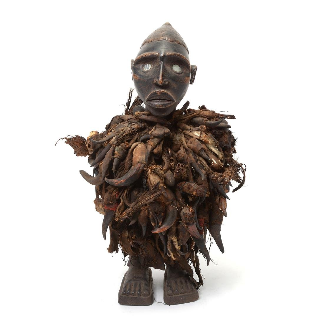 Zande Carved Wood Figure Fitted with Claw Textile. - 2