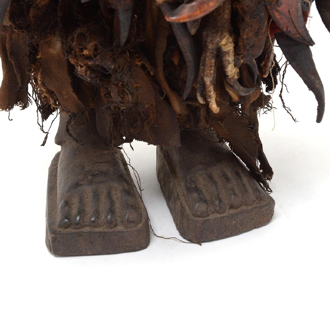 Zande Carved Wood Figure Fitted with Claw Textile. - 3