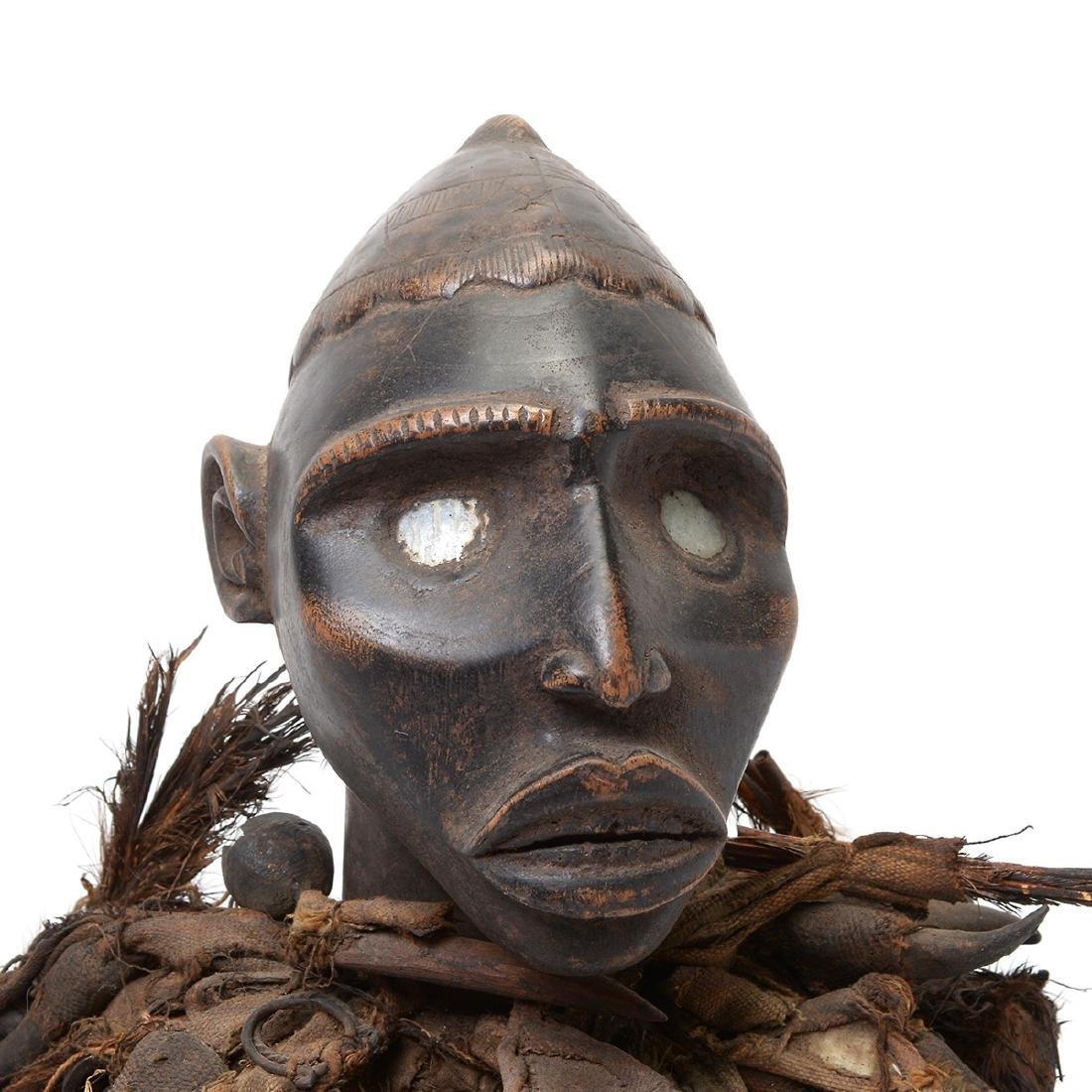 Zande Carved Wood Figure Fitted with Claw Textile. - 4