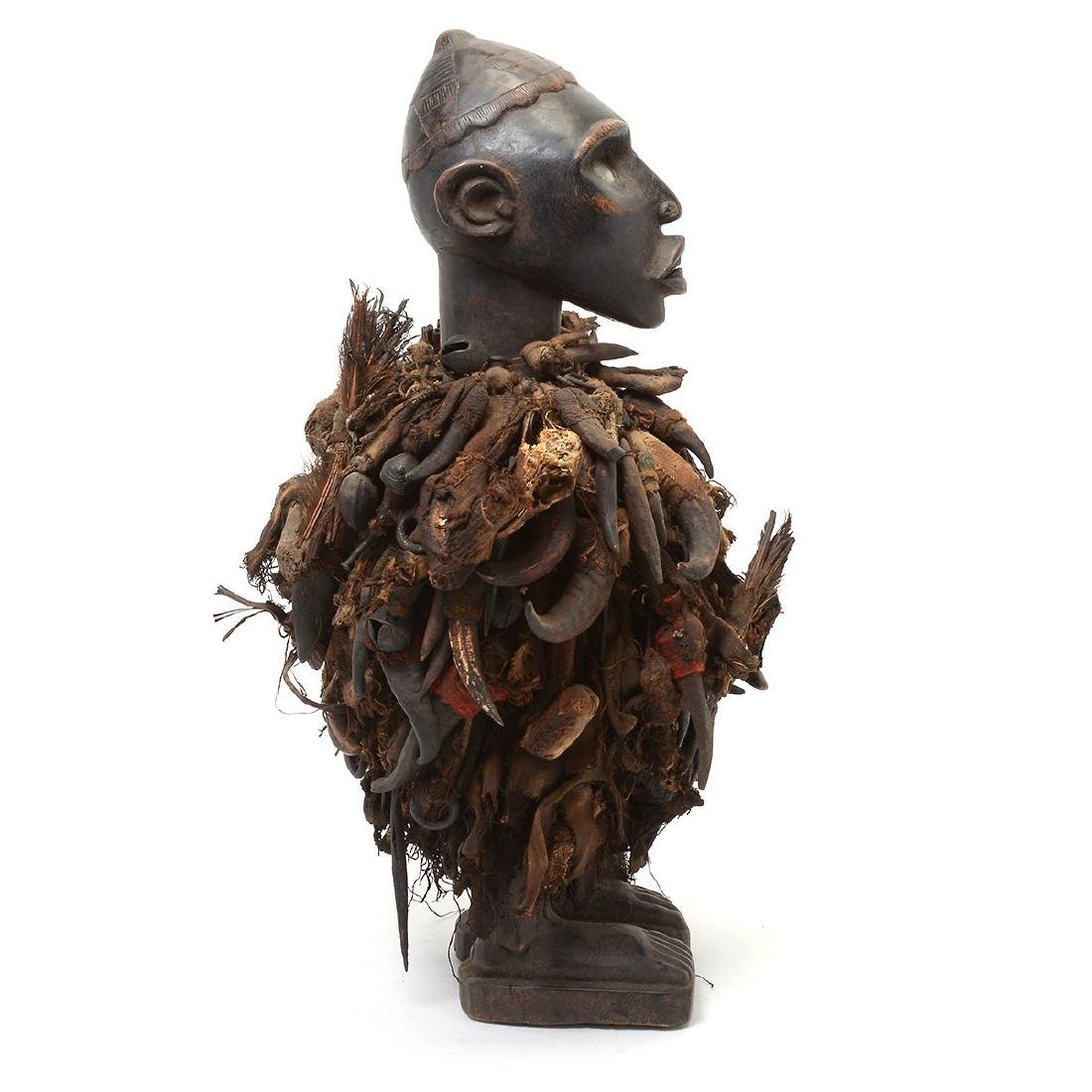 Zande Carved Wood Figure Fitted with Claw Textile. - 5