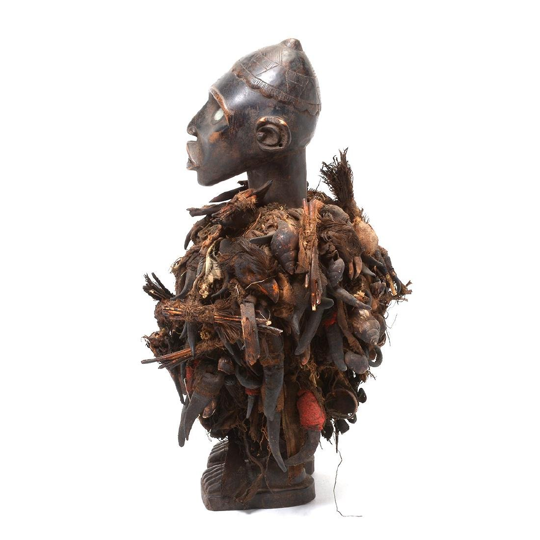 Zande Carved Wood Figure Fitted with Claw Textile. - 7