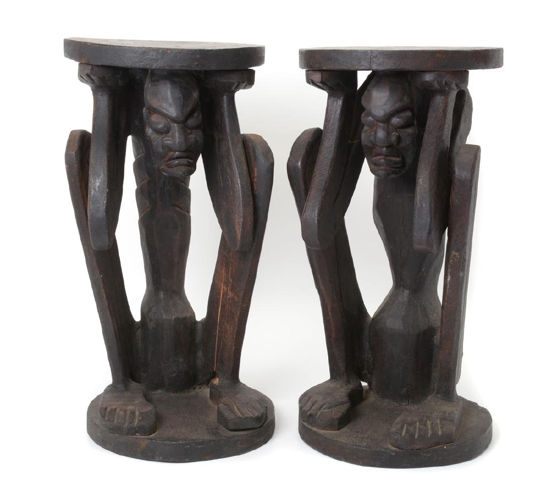 Pair of D. R. Congo Carved Wood Figural Stools